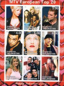 Tajikistan 2001 Happy Valentine's Day Spice Girls/Madonna/R.Williams Shlt (9)
