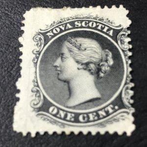 NOVA SCOTIA # 8a-MINT/HINGED-----BLACK---WHITE PAPER---1860-63(LOTA)