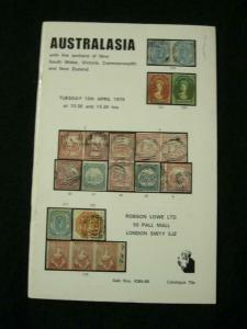 ROBSON LOWE AUCTION CATALOGUE 1979 AUSTRALASIA with NSW VICTORIA COMMONWEALTH NZ