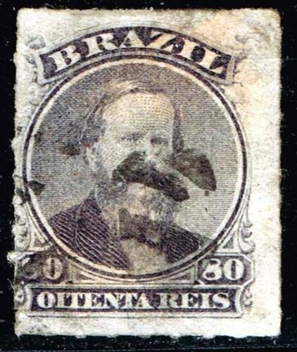BRAZIL STAMP 1866 Emperor Dom Pedro 80R USED STAMP