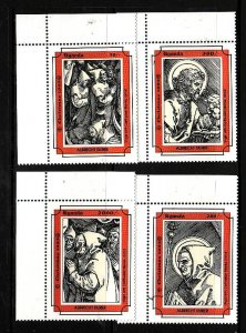 Uganda-Sc#1164//71-unused NH 1/2 set-Christmas-Paintings-Durer-1993-
