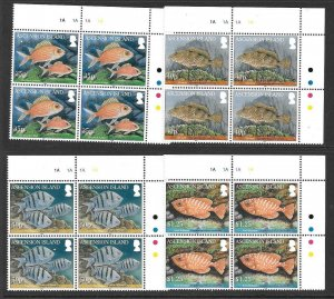 ASCENSION SG1064/7 2010 REEF FISH IN BLOCKS OF4 MNH