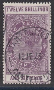 NEW ZEALAND 1880 LONG TYPE STAMP DUTY 12/6d used............................J256