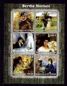 Chad 2002 Berthe Morisot mini-sheet of 6 NH