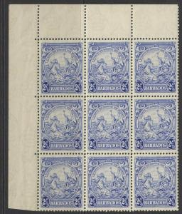 BARBADOS SG251x6, 251ax3 1938 2½d MARK ON CENTRAL ORNAMENT(x3) IN MNH BLOCK OF 9