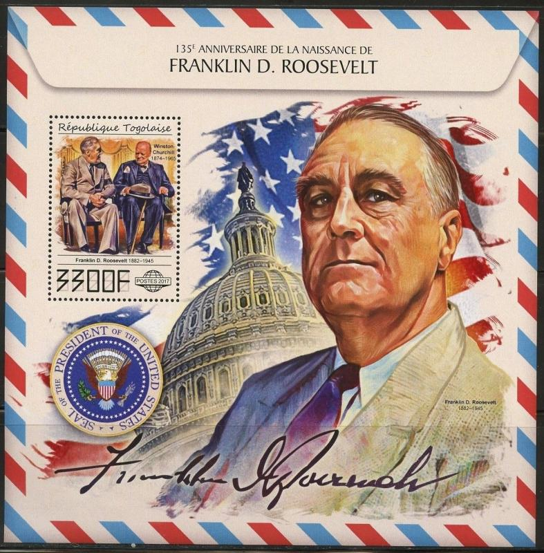 TOGO 2017 135th BIRTH OF FRANKLIN D ROOSEVELT WITH WINSTON CHURCHILL S/S MINT NH