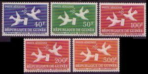 Guinea Birds Doves 5v airmail SG#209-213 MI#26-30