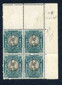 South Africa SG114c 1/2d Grey and Blue Green Block U/M