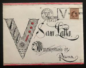 1942 Regina Canada Patriotic Cover Hand Painted Victory Domestic Used W Card