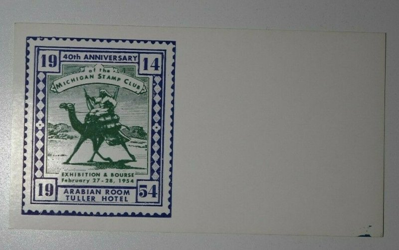 MIchigan Stamp Club Exhibition Detroit MI Arabian Room Philatelic Expo Cover