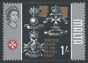 1965 1/- Maltese Corps. MISSING GOLD from frame. SG 340b.