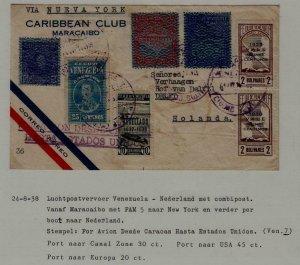 Venezuela/Netherlands airmail cover 24.8.38