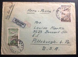 1946 Rijeka Fiume Yugoslavia Airmail Cover To Pittsburgh PA USA