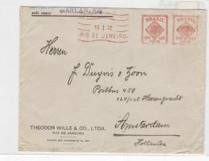 Brazil rio de janeiro to amsterdam1950  stamp cover Ref 9016