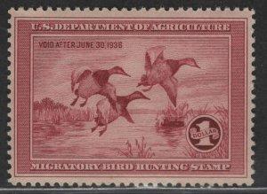 $US Sc#RW2 M/NH/F-VF OG Duck stamp, Cv. $750