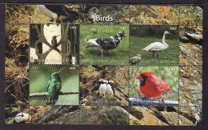 D2-Burundi-unused NH sheet of 6-Birds-Cardinal-2011-issue n