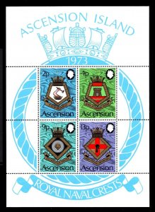 ASCENSION - 1973 - COATS OF ARMS - ROYAL NAVY SHIPS - CRESTS - MINT MNH S/SHEET!