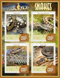 Stamps.Fauna Snakes Set 2 sheet perforated
