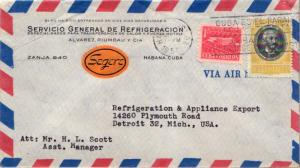 Cuba 1c Proposed Communications Building Postal Tax and 12c Aguirre 1957 Haba...