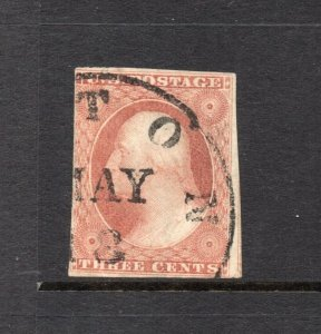#11A 3c Washington - Plated 71L5L  Small CRACKED PLATE cv$75.00