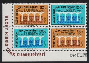 Turkish Cyprus Europa CEPT 25th Anniversary 4v Corner Block SG#148-149 SC#143a
