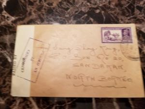 1940 Dehra Dun India POW Internment Camp Police Cover to Sandakan North Borneo