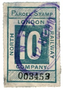 (I.B) North London Railway : Parcel Stamp 10d (Bow)