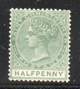 St Christopher Sc 8 1882 1/2d green Victoria stamp mint