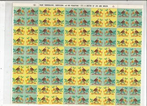 1968 CHRISTMAS SEALS, FULL SHEET
