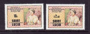 St Lucia-Sc#501-2-unused NH set-Queen Mother-80th Birthday-1980-