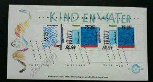 Holland Netherlands Water 1988 Children Painting Kid (miniature FDC)