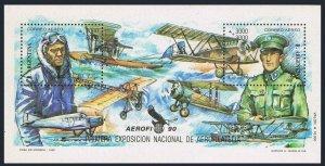 Argentina B151 sheet,MNH.Mi 2029-2030 Bl.41. EXPO Aero-philately-1990.Aviators.