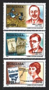 Romania. 2001. 5563-65. Benjescu writer, Minulescu poet, Disney writer. MNH.