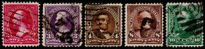 United States Scott 267-269, 272-273 (1895) Used F, CV $11.25 P