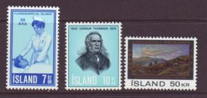 Iceland Sc 422-4 1970 anniversaries stamps mint NH