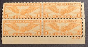 #C19 – 1934 6c Rotary Perf 10-1/2 x 11.  Plate Block of 4. MNH OG.
