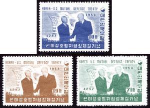 Korea 206-08 set/3 mh 1954 US-Korea Defense Treaty