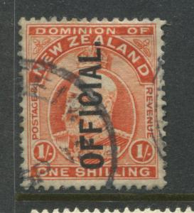 New Zealand 1910 KEVII 1/ overprinted Official CDS used