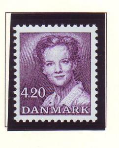 Denmark Sc 802 1989 420 kr dark purple Queen stamp mint NH
