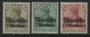 Germany overprinted Morocco 3 to 10 centimos mint o.g. hinged
