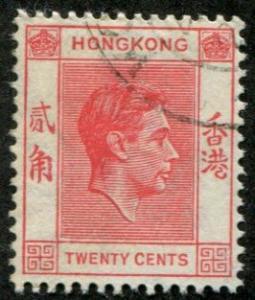 Hong Kong SC# 159B / SG# 148 George VI,  20c canceled