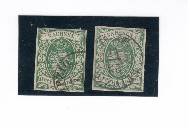 GERMAN/STATES SAXONY # 2iia-2b GREEN BLUE SHADES LIGHT CANCELS CAT VAL 280 EURO'