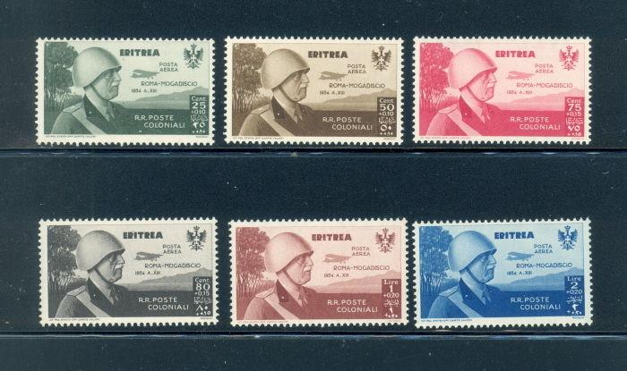 Eritrea CB1 to CB6 short set - mnh Roma- Mogadiscio air mail stamps
