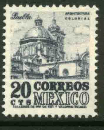 MEXICO 878 20c 1950 Def 6th Issue Fosforescent unglazed NH