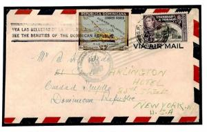 Y119b Dominican Republic Trinidad & Tobago Airmail 1947 Cover {samwells}