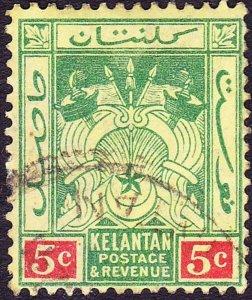 MALAYA KELANTAN 1922 5c Green & Red/Pale Yellow SG18 Used