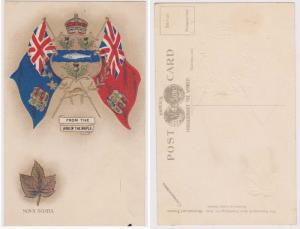 Nova Scotia - Vintage Patriotic Card Flag and Arms w. Maple Leaf