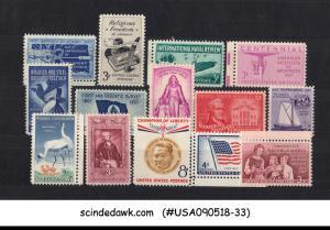 UNITED STATES USA - 1957 COMMEMORATIVES SET COMPLETE SC#1089-99 14V MNH