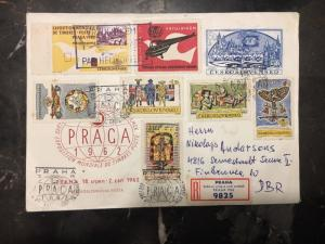 1962 Prague Czech Republic First Day Registered Cover FDC Philatelic Exhibition