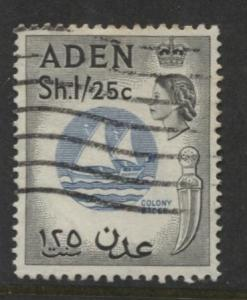 ADEN - Scott 56- QEII Definitive Colony Badge - 1953-  Used - Single 1/25c Stamp